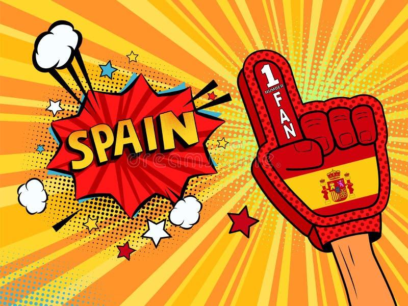 Männliche Hand im Landesflaggehandschuh eines Sportfans hob Gewinn- und Spanien-Spracheblase mit Sternen und Wolken oben feiern a lizenzfreie abbildung