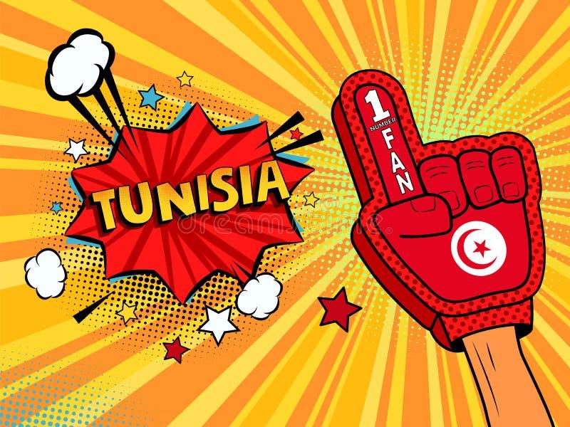 Männliche Hand im Landesflaggehandschuh eines Sportfans hob Gewinn- und Tunesien-Spracheblase mit Sternen und Wolken oben feiern  vektor abbildung