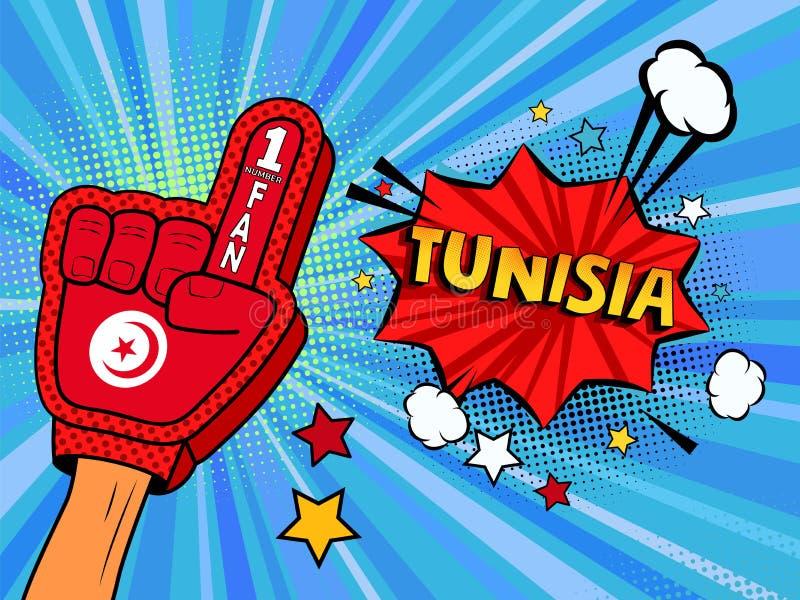 Männliche Hand im Landesflaggehandschuh eines Sportfans hob Gewinn- und Tunesien-Spracheblase mit Sternen und Wolken oben feiern  lizenzfreie abbildung