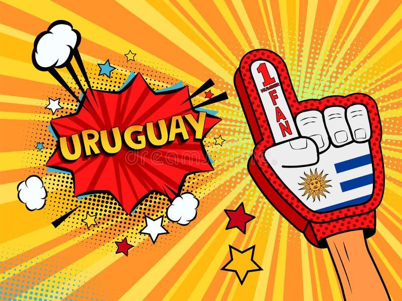 Männliche Hand im Landesflaggehandschuh eines Sportfans hob Gewinn- und Uruguay-Spracheblase mit Sternen und Wolken oben feiern a stock abbildung