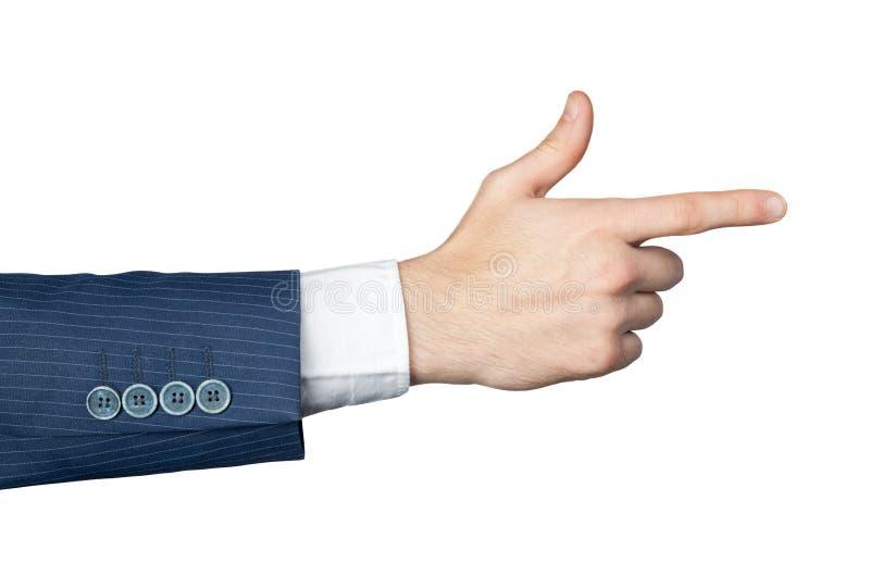 Männliche Hand mit dem Zeigen des Fingers lizenzfreie stockfotografie