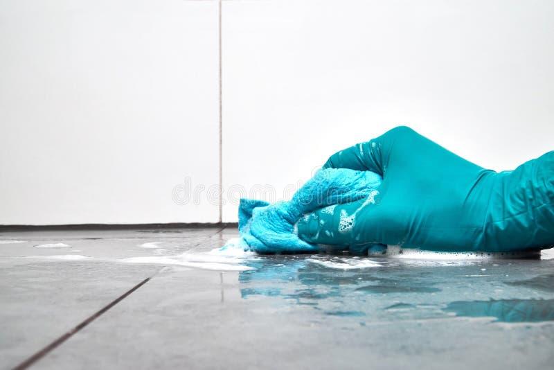 Download Männliche Hand Mit Einem Blauen Lappen, Der Die Badezimmerfliesen  Auf Dem Boden Säubert Stockbild