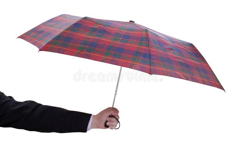 Männliche Hand mit kleinem offenem teleskopischem Regenschirm stockbilder