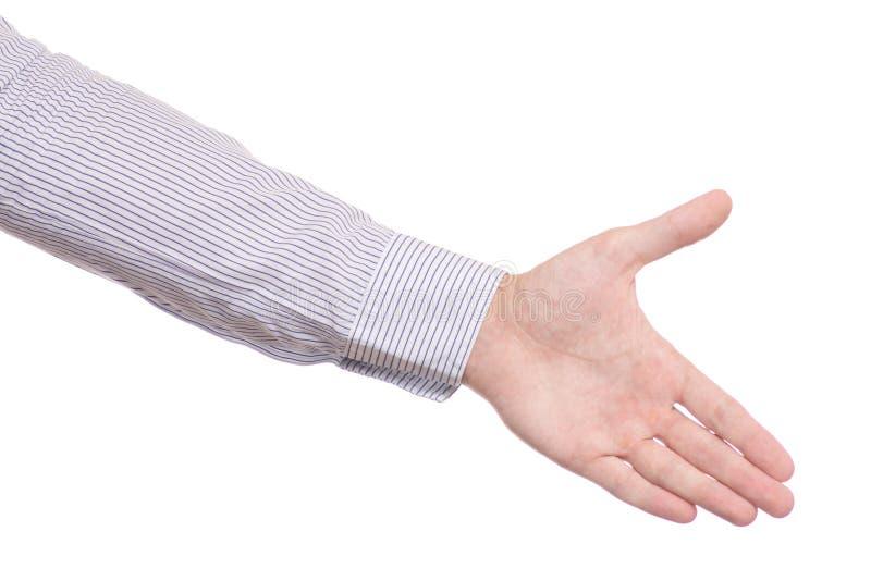 Männliche Hand, welche die Hände lokalisiert rüttelt stockbilder