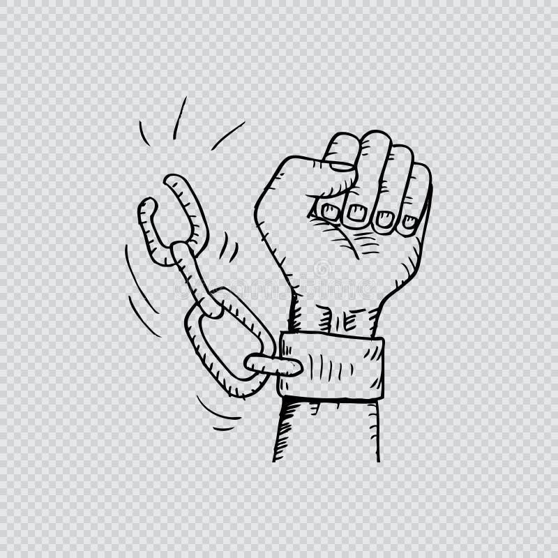 Männliche Hand, welche die Stahlhandschellen bricht vektor abbildung