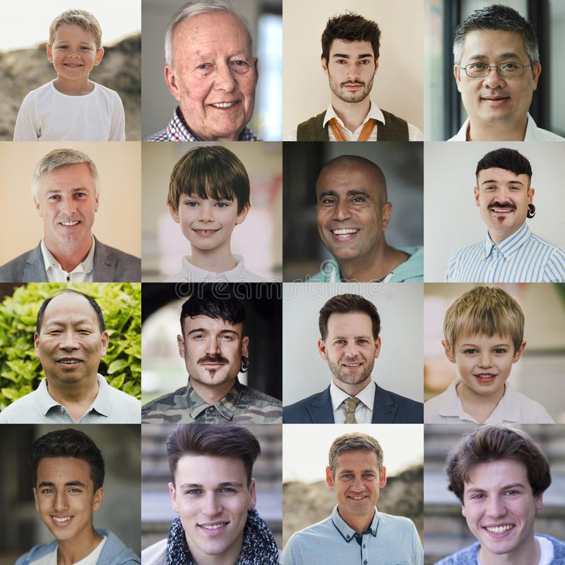 Männliche Headshot-Collage lizenzfreie stockfotografie
