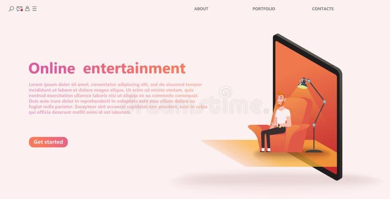 Männliche Rolle auf dem Lehnsessel-, Laptop- oder Tablettenschirm, Konzept der on-line-Unterhaltung, stock abbildung