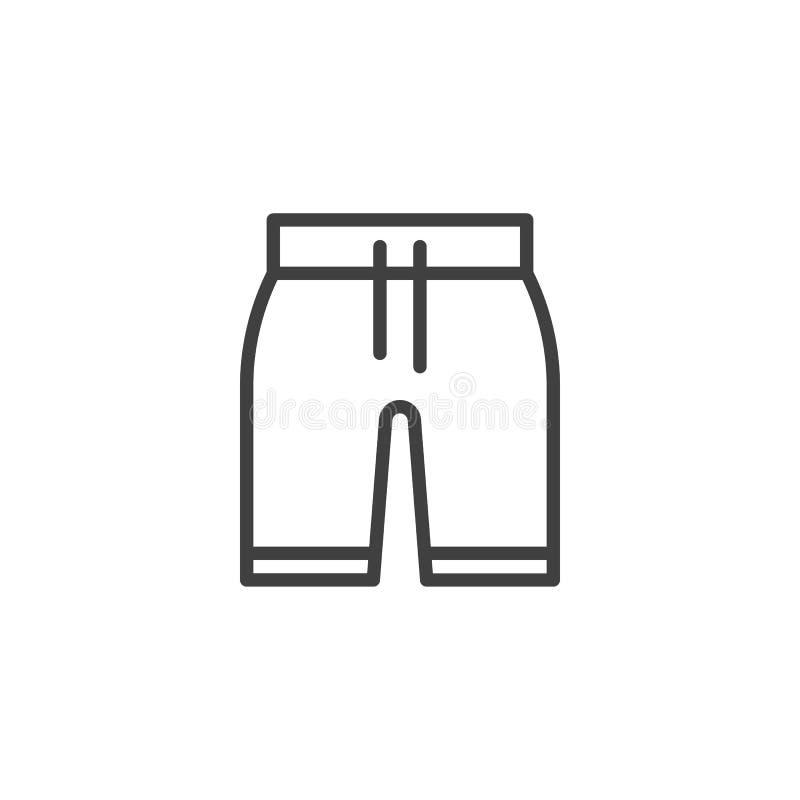 Männliche schwimmende Linie der kurzen Hosen Ikone vektor abbildung