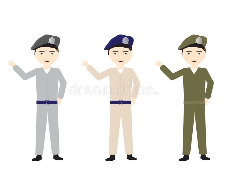Männliche Soldaten in den verschiedenen einheitlichen Farben, die hallo wellenartig bewegen lizenzfreie abbildung