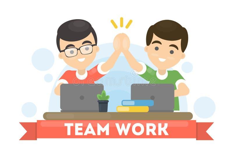 Männliche Teamarbeit lizenzfreie abbildung