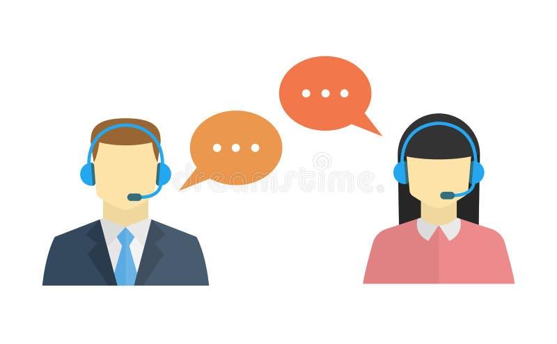 Männliche und weibliche Call-Center-Avataraikone lizenzfreie abbildung