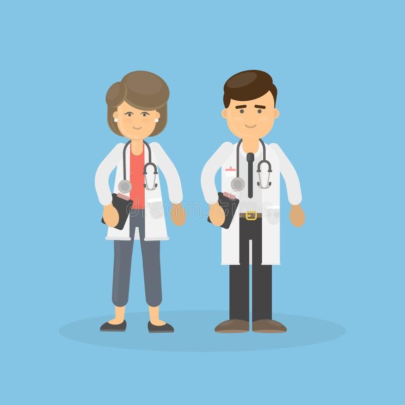 Männliche und weibliche Doktoren stock abbildung