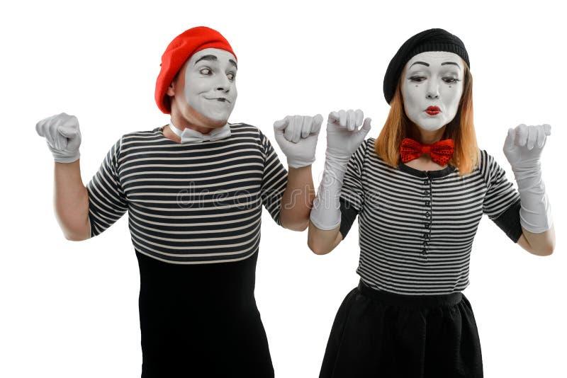 Männliche und weibliche Pantomimen stockfoto