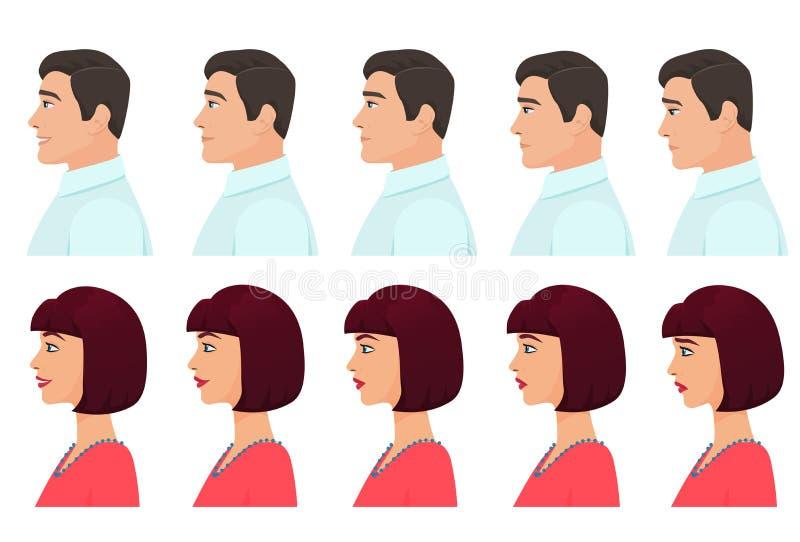 Männliche und weibliche Profilavataraausdrücke eingestellt Mann- und Frauengesichtsprofilgefühle von Traurigkeit zu Glück lizenzfreie abbildung