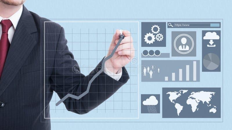 Männliche Unternehmerzeichnung mit Markierung auf Schirm lizenzfreies stockfoto