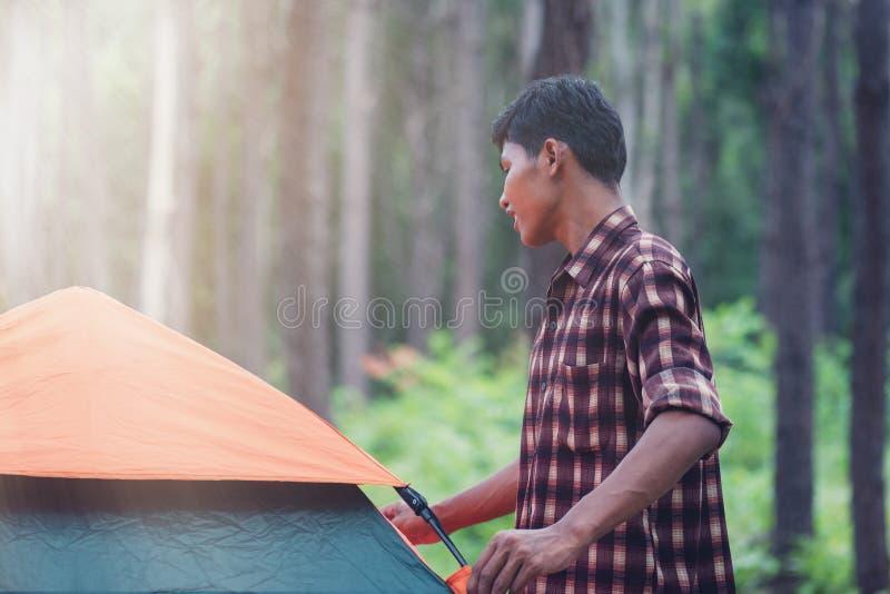 Männlicher Afrikanisch-asiatischer Tourist, der das Zelt am Wald gründet stockbild