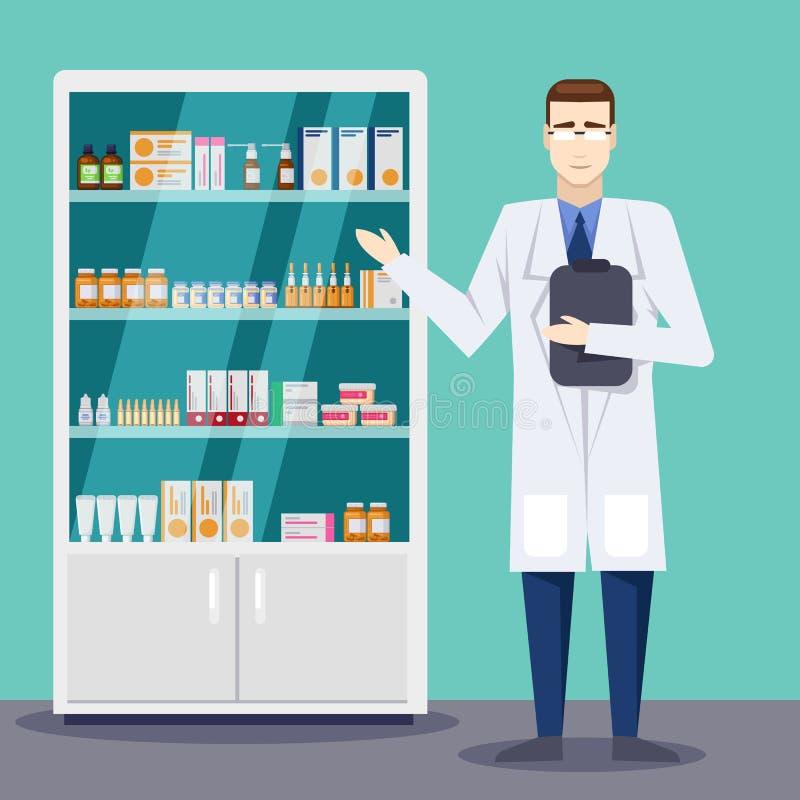Männlicher Apotheker, der Medizin und Pillen zeigt Apotheken- oder Drugstoreinnenraum Flache Artillustration des Vektors stock abbildung