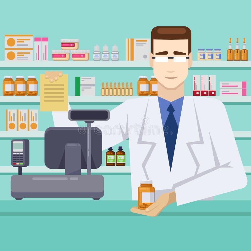 Männlicher Apotheker mit Pillen hinter dem Zähler Apotheken- oder Drugstoreinnenraum Flache Artillustration des Vektors vektor abbildung