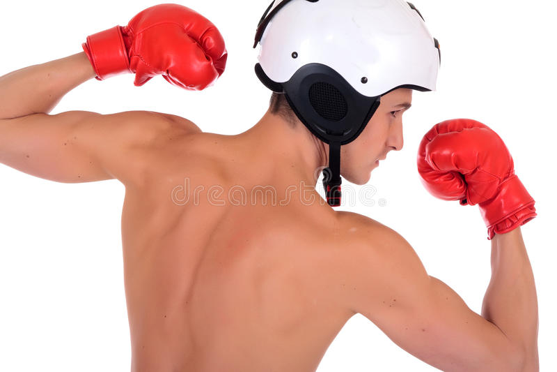 Männlicher Athletenboxersturzhelm lizenzfreies stockfoto