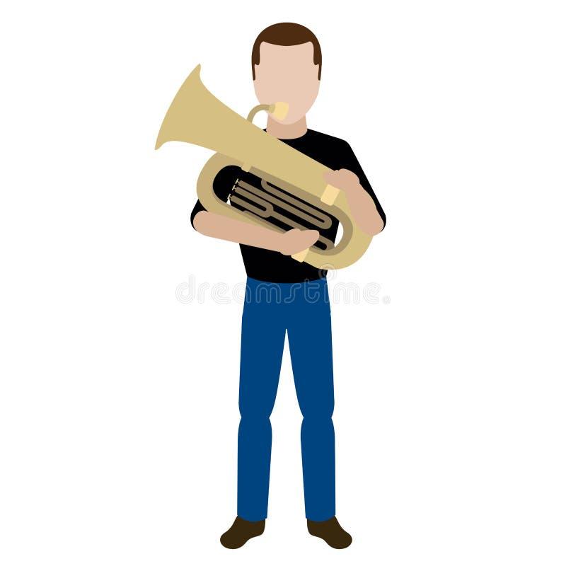 Männlicher Avatara, der eine Tuba spielt lizenzfreie abbildung
