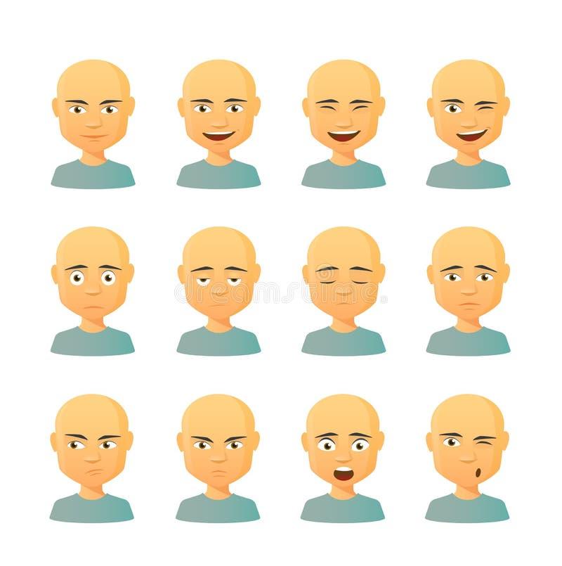 Männlicher Avataraausdrucksatz lizenzfreie abbildung