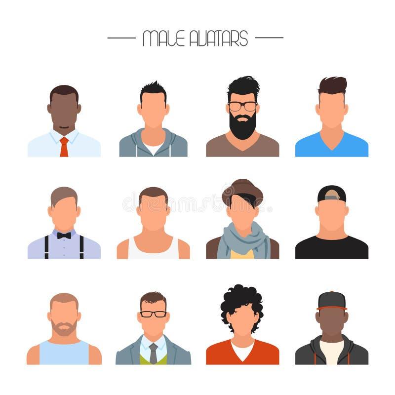 Männlicher Avataraikonen-Vektorsatz Leutecharaktere in der flachen Art Gesichter mit verschiedenen Arten und Nationalitäten lizenzfreie abbildung