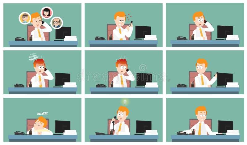 Männlicher Büroangestellter, der von seiner Schreibtischzeichentrickfilm-figur-Illustrationssammlung nennt vektor abbildung