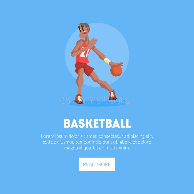 Männlicher Basketball-Spieler in der Sport-Uniform, die mit Ball-Fahnen-Schablone spielt, Gestaltungselement kann für die Landung vektor abbildung