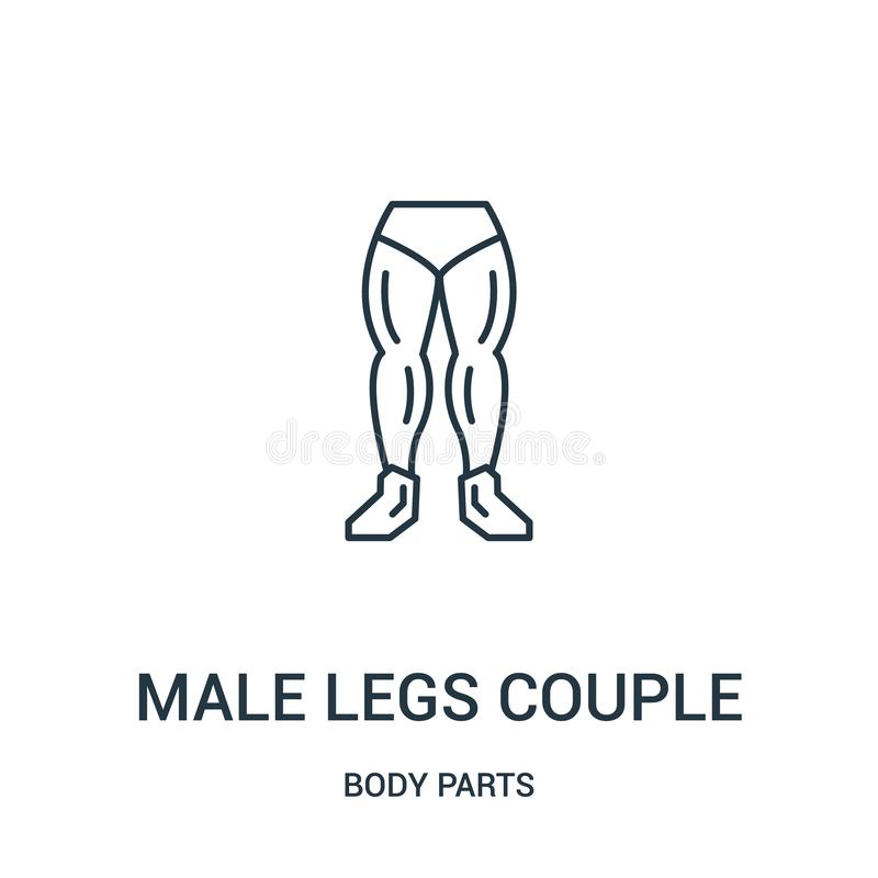 männlicher Beinpaar-Ikonenvektor von der Körperteilsammlung Dünne Linie männliche Beinpaarentwurfsikonen-Vektorillustration vektor abbildung