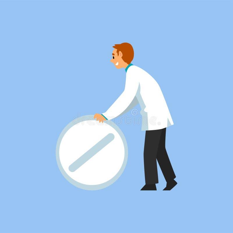 Männlicher Berufsdoktor Character mit großer Pille, Arbeitskraft der medizinischen Klinik oder Krankenhaus im weißen Laborkittel- stock abbildung