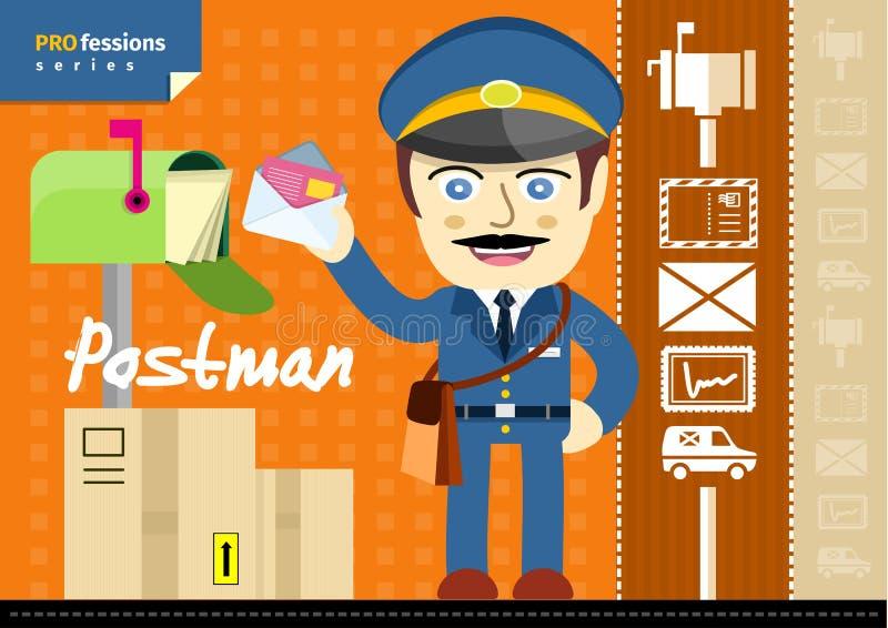 Männlicher Briefträger in der Uniform mit der Tasche, die Buchstaben hält stock abbildung