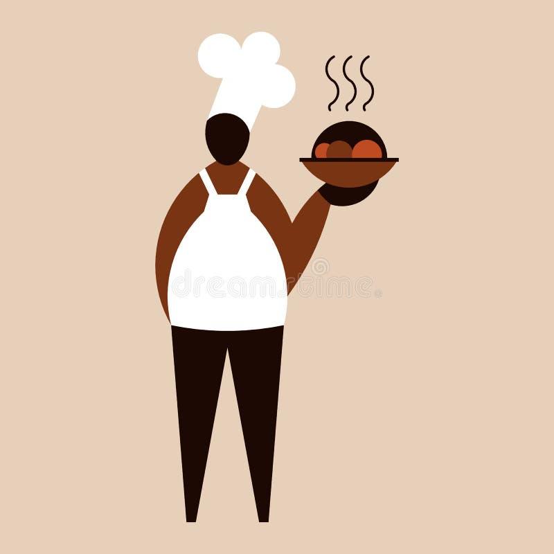 Männlicher Chef, der einen Teller mit köstlicher frischer Nahrung hält stock abbildung