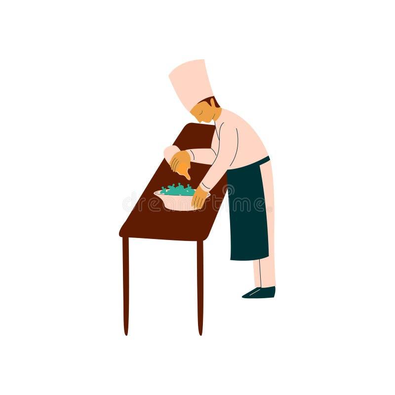 Männlicher Chef-Koch Preparing Delicious Dish, Berufs-Kitchener-Charakter in der einheitlichen Vektor-Illustration lizenzfreie abbildung