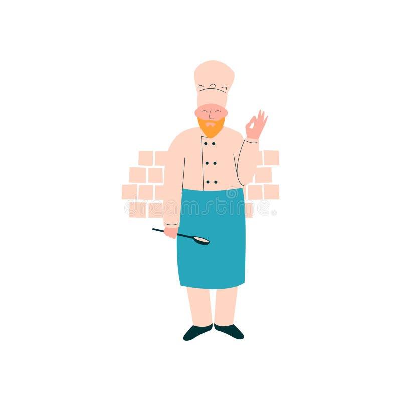Männlicher Chef Standing mit Schöpflöffel, Berufs-Kitchener-Charakter in der einheitlichen vorbereitenden köstlichen Teller-Vekto lizenzfreie abbildung