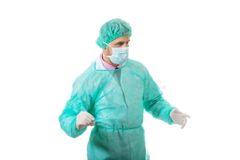 Männlicher Chirurg mit einem Skalpell stockfoto