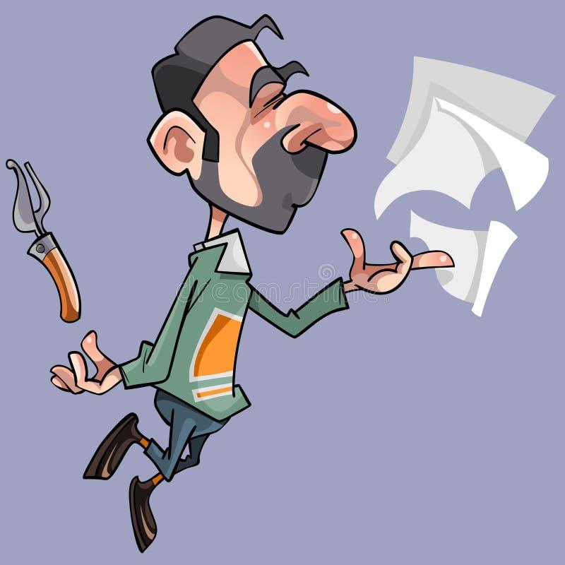 Männlicher Dichter der Karikatur mit Blättern und Stiftstift lizenzfreie abbildung