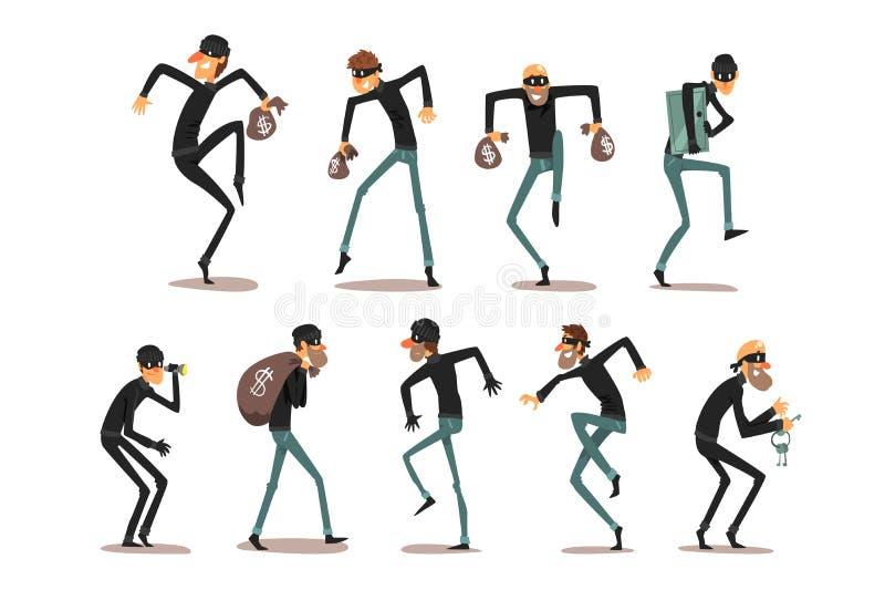 Männlicher Dieb in Masken-Set, Räuber Cartoon-Zeichen, Verbrechen Vektor Illustrationen auf einem weißen Hintergrund stock abbildung