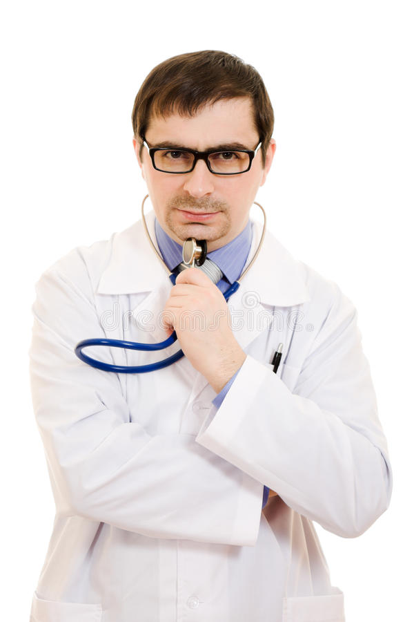 Männlicher Doktor denkt stockfotos