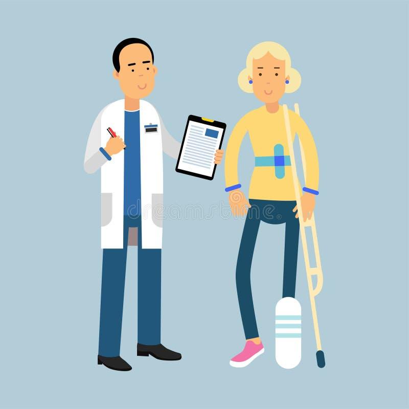Männlicher Doktor, der Empfehlungen zum weiblichen Patienten mit einem gebrochenen Bein, Illustration gibt lizenzfreie abbildung