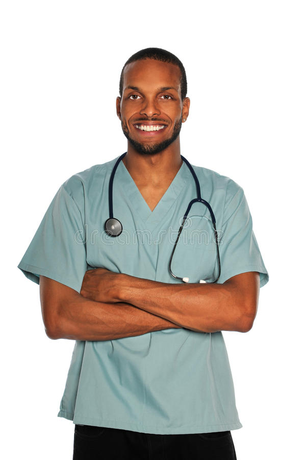 Männlicher Doktor der Krankenschwester stockfoto