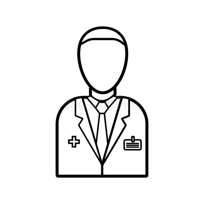 Männlicher Doktor der Medizin in einem weißen Mantel mit einem Ausweis, Gesundheitsfürsorger für die Behandlung von Krankheiten v lizenzfreie abbildung