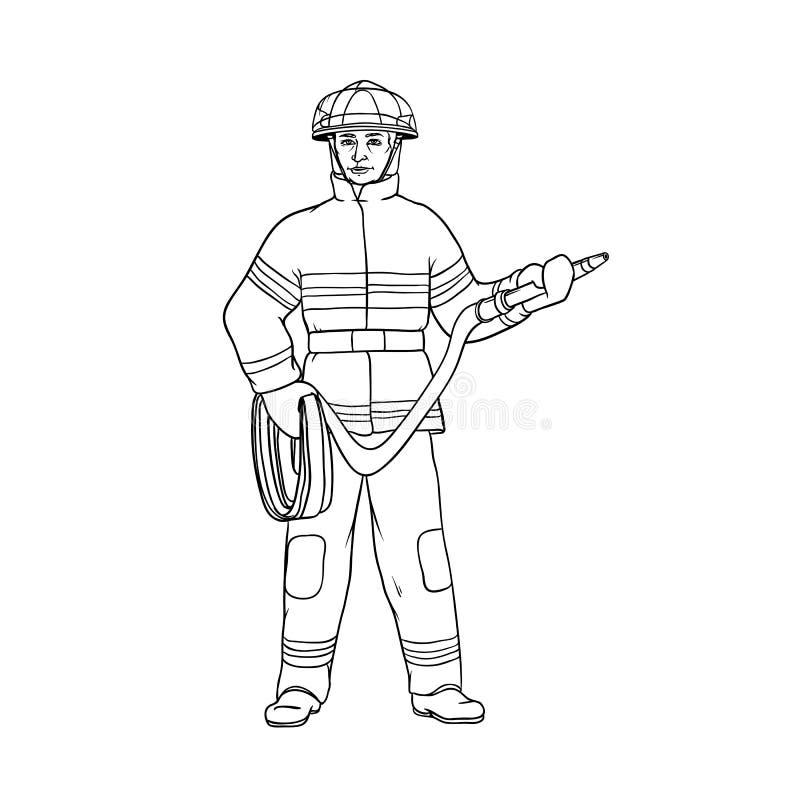 Männlicher Feuerwehrmann im Schutzanzug, im Sturzhelm und in den Handschuhen, mit einem roten Schlauch in seinen Händen Die Arbei vektor abbildung