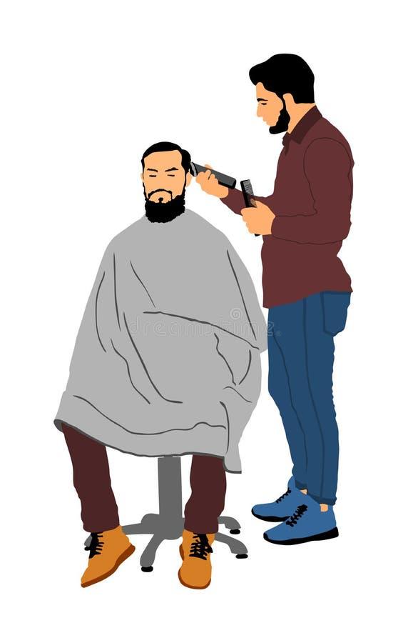 Männlicher Friseur, der Scheren und Kammillustration hält Bemannen Sie Kunden in Friseur ` s Stuhl, der Haarschnitt durch Friseur vektor abbildung