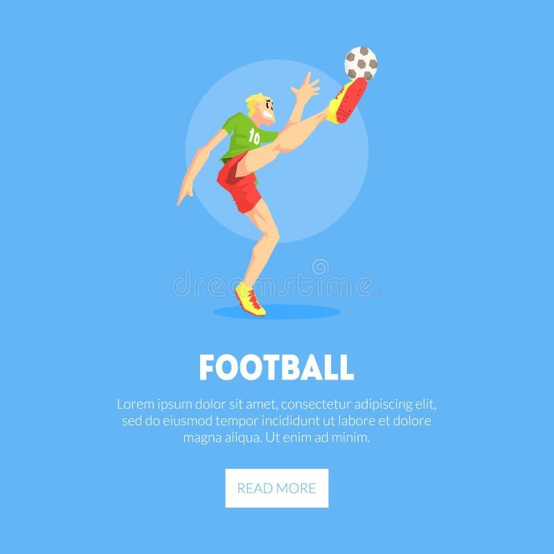 Männlicher Fußball-Spieler Sport-in der einheitlichen tretenden Ball-Fahnen-Schablone, Gestaltungselement kann für die Landung de stock abbildung
