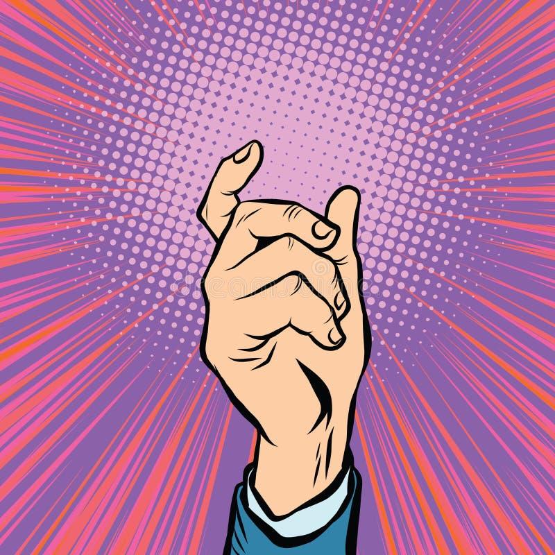 Männlicher Griff der Geste Hand lizenzfreie abbildung