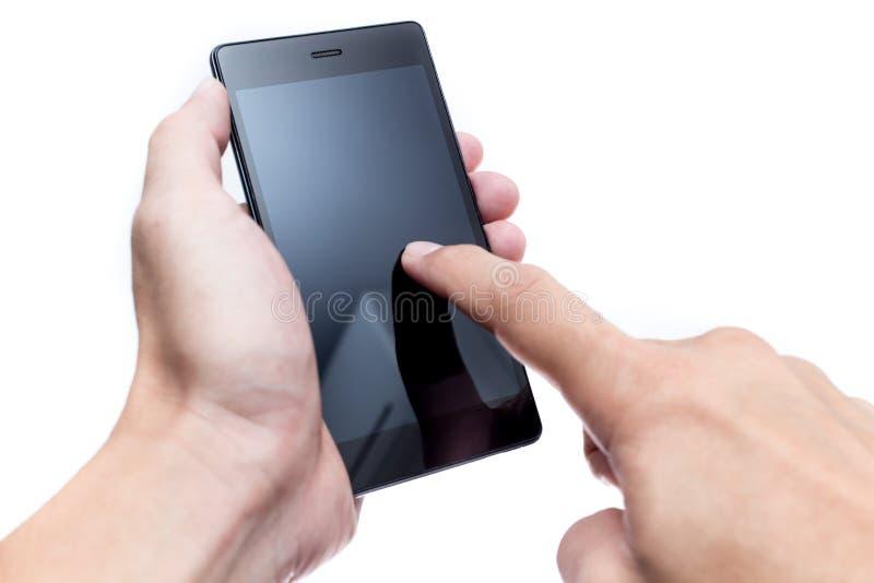 Männlicher Handgriff Smartphone mit FingerTouch Screen lizenzfreies stockbild