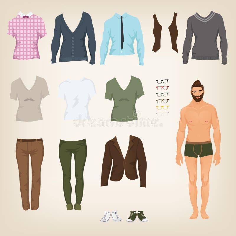 Männlicher Hippie kleiden oben Papierpuppe lizenzfreie abbildung