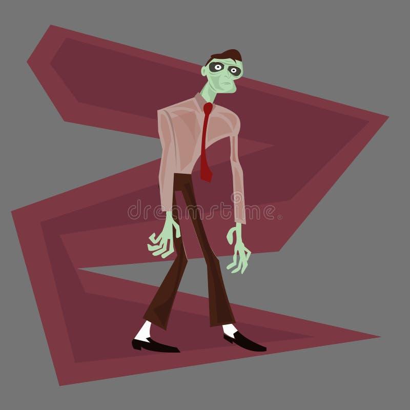 Männlicher Karikaturvektor des Zombiegeschäftsmanncharakters lizenzfreie stockbilder