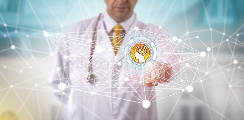 Männlicher Kliniker, der eine AI-APP in einem Netz einleitet stockbild