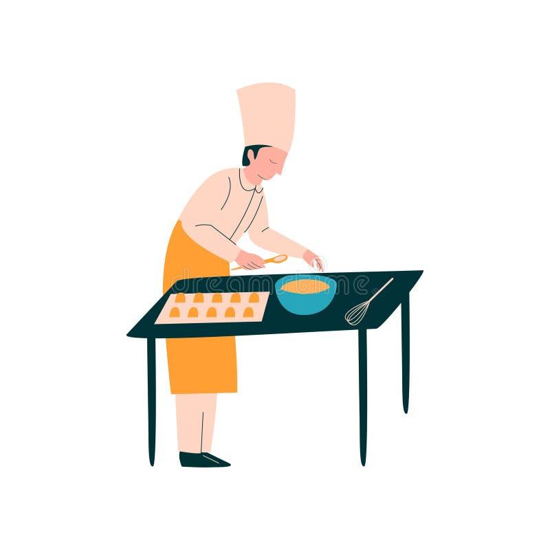 Männlicher Koch Cooking Pastries auf Tabelle, Berufs-Kitchener-Charakter im einheitlichen vorbereitenden köstlichen Teller auf Kü stock abbildung